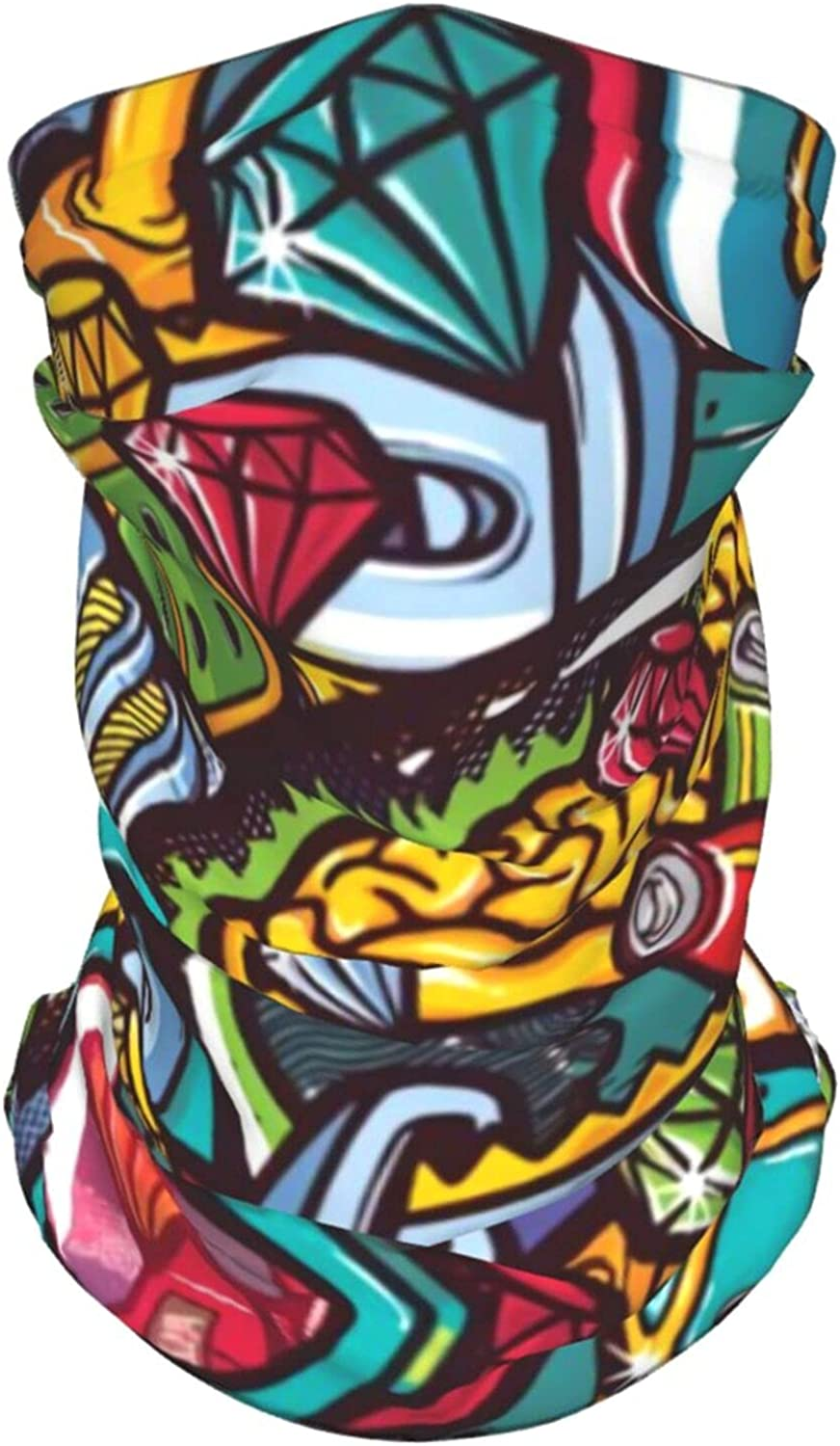Funky Cool Style Neck Gaiter Multipurpose Headwear Ice Silk Mask Scarf Summer Cool Breathable Outdoor Sport 2 Pcs