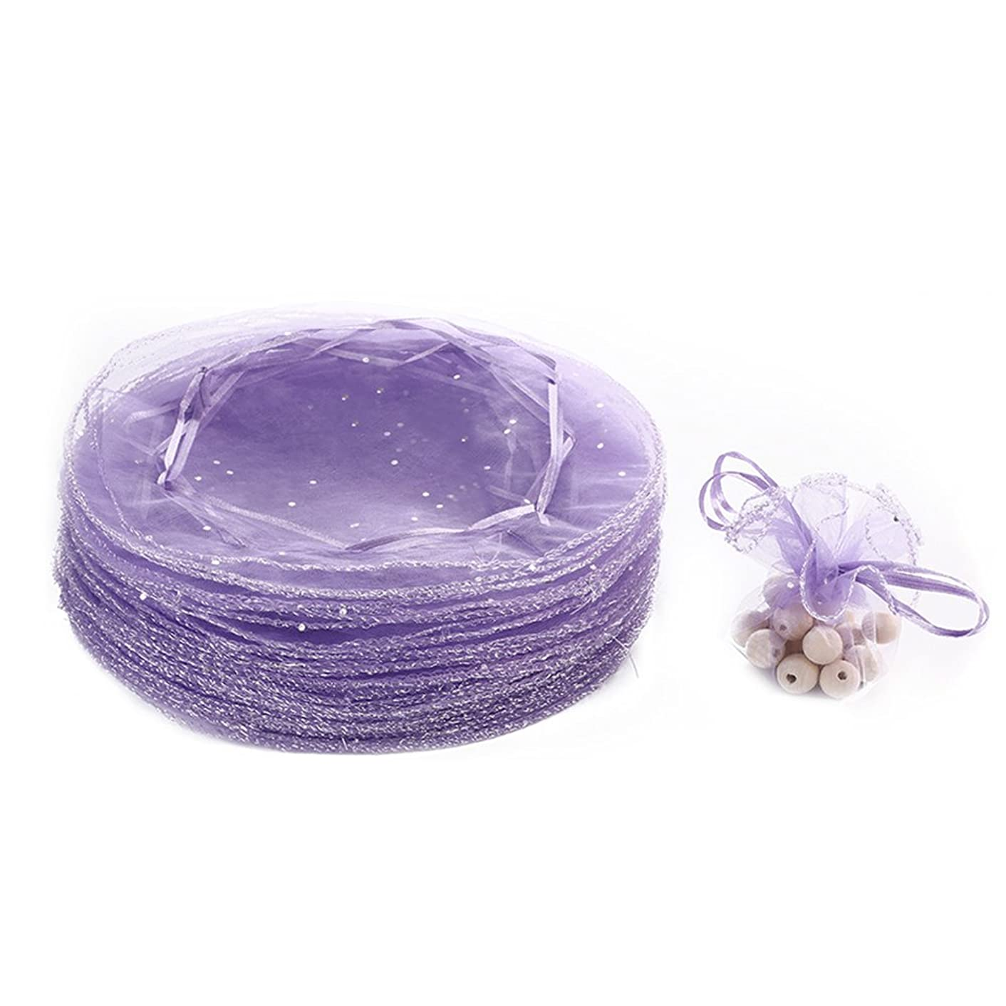 Dealglad 50pcs 25cm Round Drawstring Organza Jewelry Candy Pouch Christmas Wedding Party Favor Gift Packaging Bags (Light Purple)