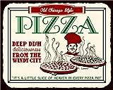 Vintage Metal Art Old Chicago Style Pizza Deep Dish Heaven Retro Tin Pizzeria Sign