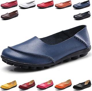 2048dcd5 Hishoes Mocasín de Cuero Mujer Loafers Cómodo y Antideslizante Barco Zapatos  para Mujer Zapatos de Conducción