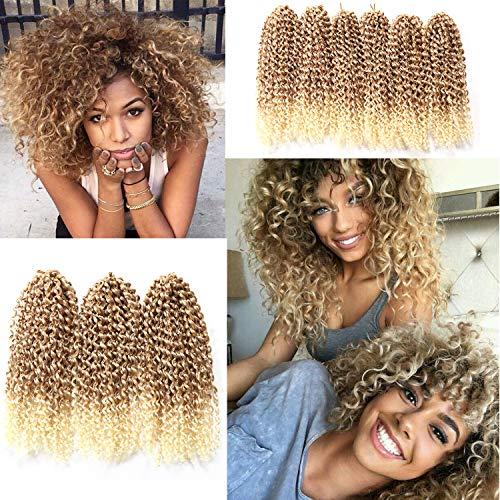 12 Inch Short Passion Twist Hair Marlybob Crochet Hair 6 Small Bundles Kinky Curly Crochet Hair Crochet Braids Jerry Curly Crochet Hair Kinky Twist Crochet Braiding Hair (Light Brown/Blonde)