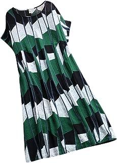 Mikilon Women's Plus Size Short Sleeve Loose Cotton Linen Top Shirt Dress M-5XL