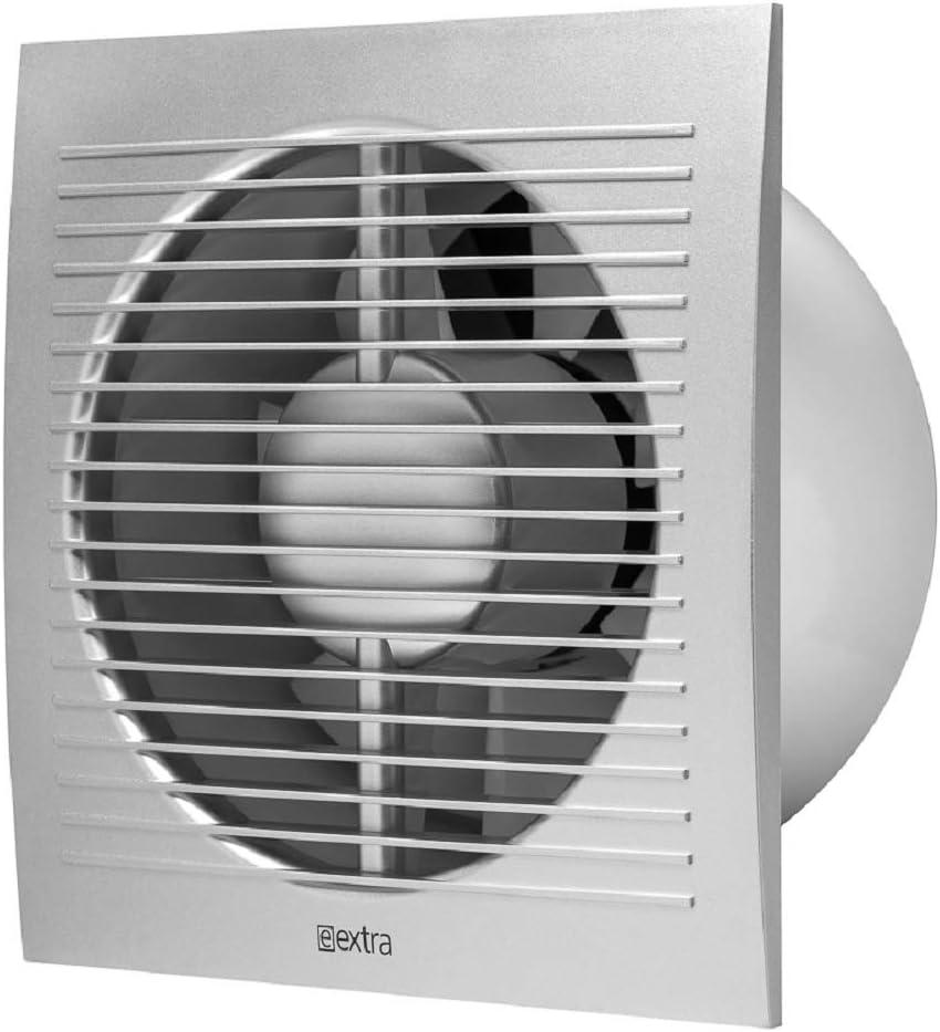 Ventilador de baño de 150 mm de diámetro con sensor de humedad y temporizador, color plateado