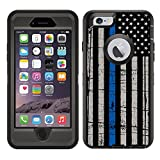 Teleskins Protective Designer Vinyl Skin Decals/Stickers Compatible with Otterbox Defender iPhone 6 / iPhone 6S Case -Thin Blue Line USA Police Flag Design Patterns - only Skins and not Case
