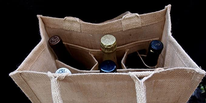 6 Bottle Wine Beer Bag Red Jute Burlap Gift Carrier Tote Reusable Eco-Friendly Bags Size 7.5 x 12 x 14 ASHIRWAD Brand