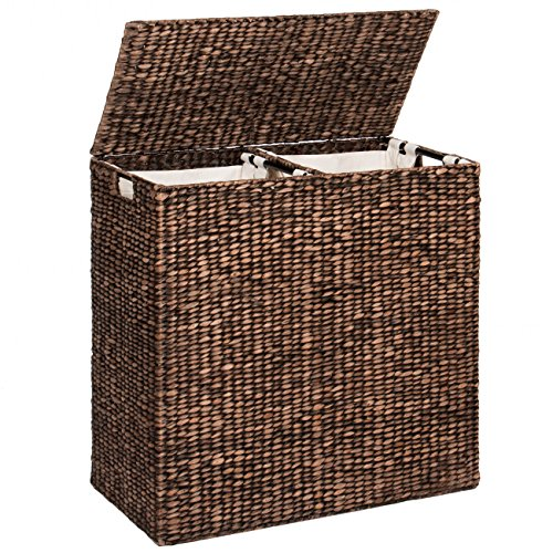 Best Choice Products Extra Large Natural Woven Water Hyacinth Double Laundry Hamper Basket w/ 2 Liner Bags - Espresso