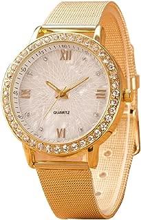 Lookatool Classy Women Ladies Crystal Roman Numerals Gold Mesh Band Wrist Watch