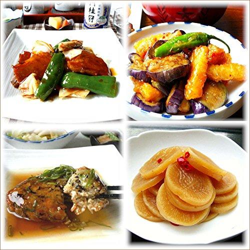 【京惣菜四点盛りQセット】 回鍋肉(ホイコーロー)(1袋)イカと茄子のスイートチリソース(1袋) 豆腐ハンバーグ(1袋) 大根の田舎煮(1袋) 4種類×1パック 合計4パック