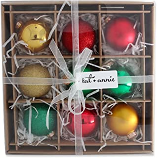 kat + annie 9 Count Classic Christmas Ornament, Red, Green, Gold