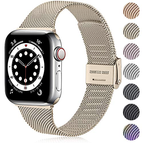 Ouwegaga Ersatz Armband Kompatibel mit Apple Watch Armband 38mm 40mm 42mm 44mm SE, Klassisches Edelstahl Metall Armband Kompatibel mit iWatch Series 6 5 4 3 2 1,38mm/40mm Vintage Gold