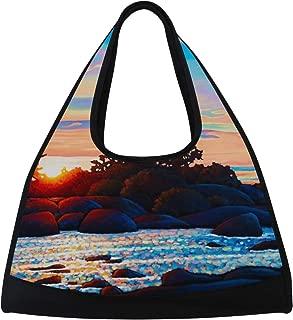 LORVIES Spectacular Sunrise Duffle Bag Shoulder Handy Sports Gym Bags Tennis Badminton Racket Bag for Men and Women