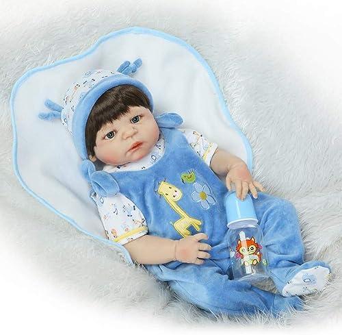 UBTY Kinder Spielzeug Baby Doll Weiß Silikon Vinyl magnetisch Reborn Babypuppen  ne Deine Augen Junge 23 inch 57 cm