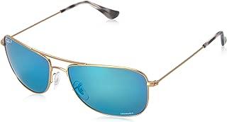 RAY-BAN RB3543 Chromance Mirrored Aviator Sunglasses, Matte Gold/Polarized Blue Mirror, 59 mm