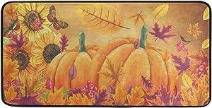 Yulife Fall Sunflower Pumpkins Kitchen Mat Rug Autumn Maple Leaf Butterfly Comfort Floor Mat Non Slip Doormat Indoor Outdoor Entrance Welcome Door Mats Runner Rugs Home Decor 39 X 20 Inch