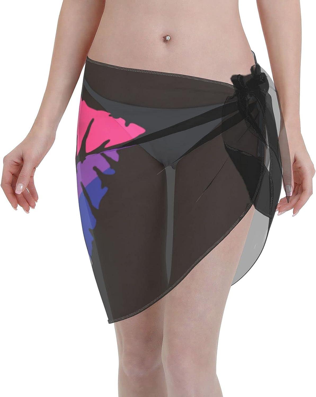 Bisexual Pride Flag Women Short Sarongs Beach Wrap Sheer Bikini Wraps Chiffon Cover Ups for Swimwear Sexy Wrap Around Dress Black