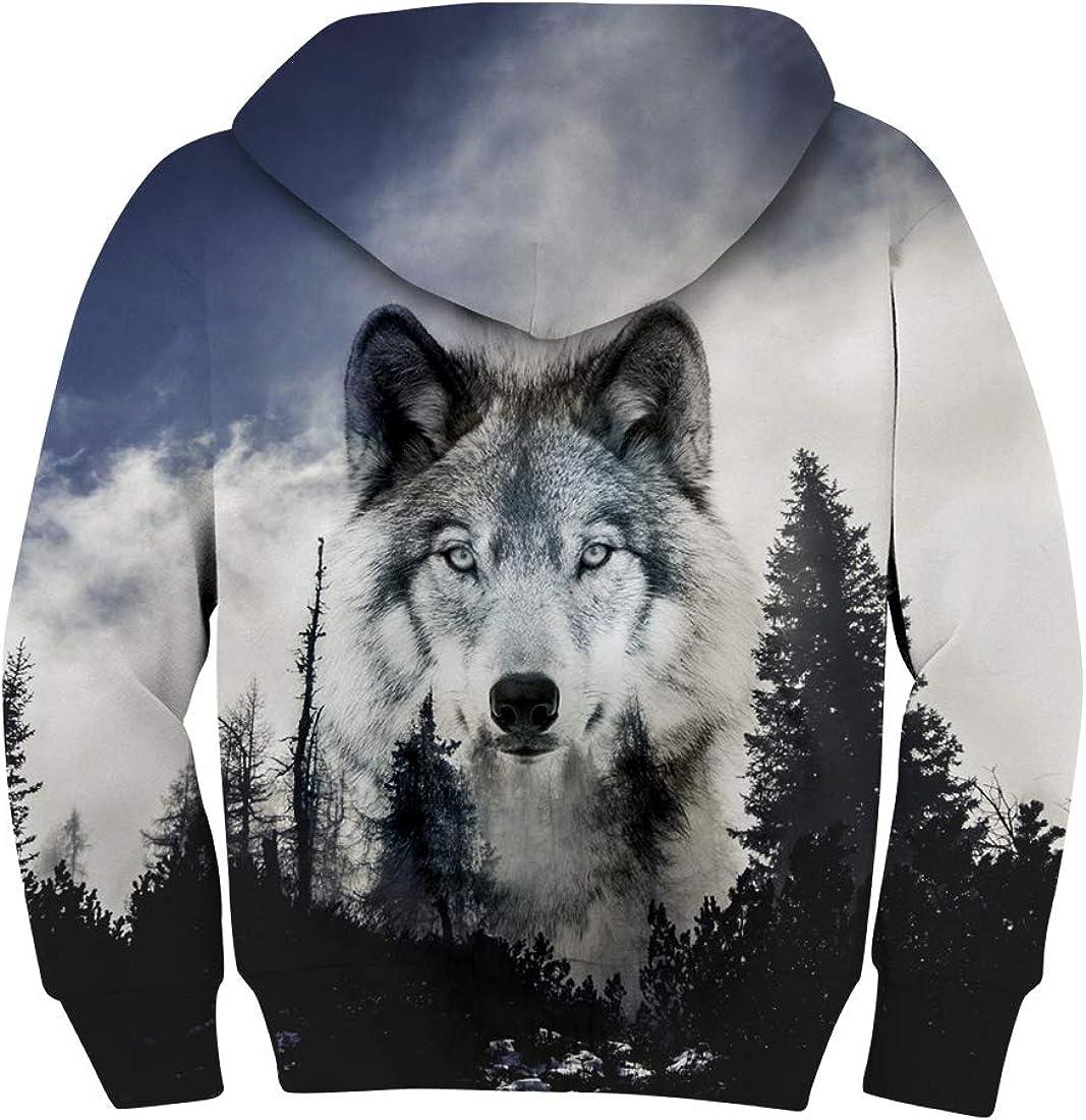 AIDEAONE Kinder Jungen Mädchen Kapuzenpullover 3D Print Fleece Pullover Hoodies Sweatshirt mit Kängurutasche Wolf 1