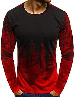 WSPLYSPJY Men's Gradient Letter Print Round Neck Long Sleeve Pullover T-Shirt Tops