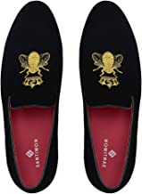Santimon Men's Velvet Loafers Casual Slip on Dress Shoes with Gold Embroidery Smoking Slippers Flats