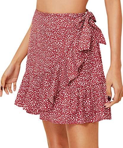 WDIRARA Women s Polka Dots Knot Wrap Side Ruffle Mini Skirt Red S product image