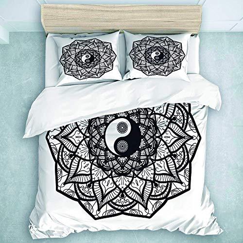 Juego de Funda nórdica de 3 Piezas, Vintage Yin y Yang en Mandala, para Adolescentes, Adultos, colección de Ropa de Cama Queen