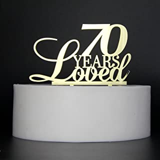 LOVELY BITON Gold 70 Years Loved Cake Topper Shining Numbers Letters for Wedding, Birthday, Anniversary, Party.
