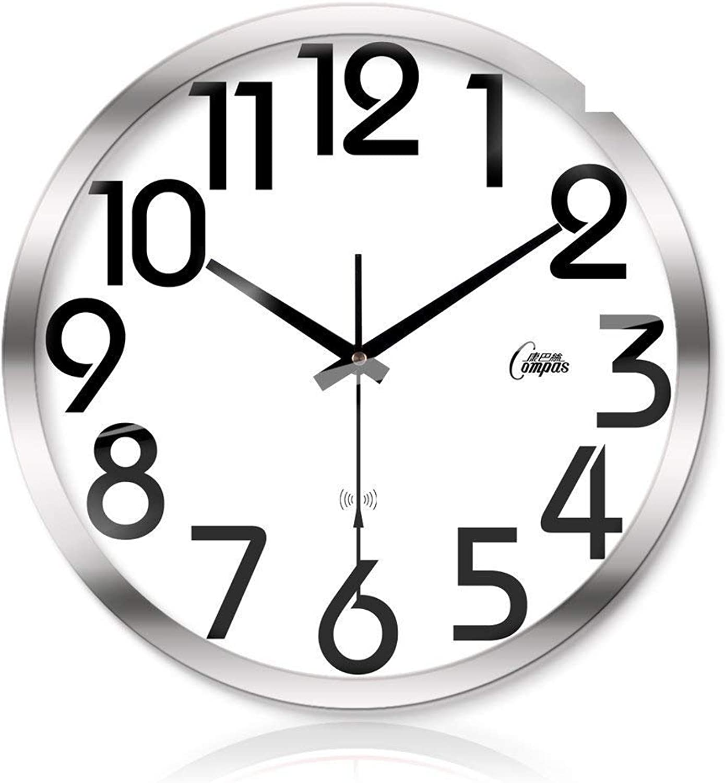 Grte Wall Clock Decorative Creative Wall Clock Metal Mute Watches Smart Scan-F 14Po