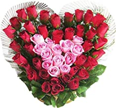 FRESH-Flowers Flowers Bouquet Fresh Roses I Valentine Gift for Girlfriend I Valentine Gift for Boyfriend I Gift for Girls I Wedding Gift for Couples (90 Fresh Red & Pink Roses)