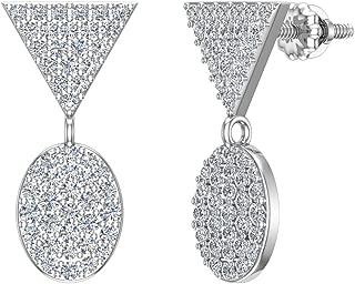 Diamond Dangle Earrings Oval Pattern Cluster Triangle Top 14K Gold 0.90 ctw (G,SI)