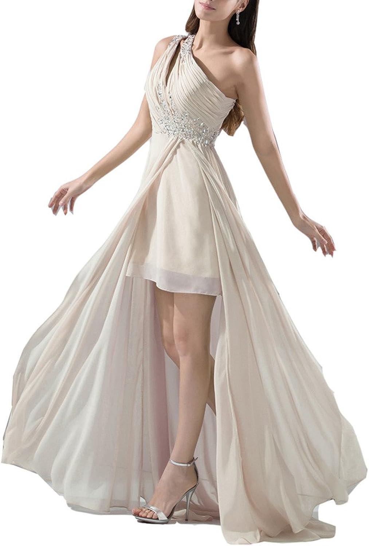 Emmani Women's OneShoulder Beaded Split Trailing Bridesmaid Evening Dresses
