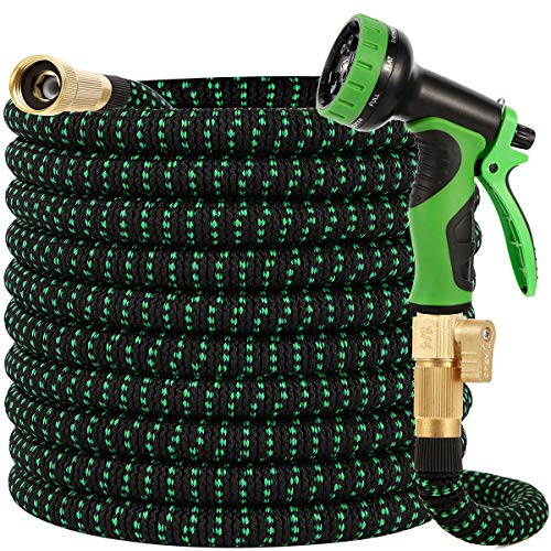 Buheco Garden Hose 100ft-Water hose with 9 Function Spray Nozzle and Durable 4 Layers Latex-3/4'' Solid Brass Fittings-Strength 3750D No Kink Flexible Lightweight Outdoor Strong Long Hose Pipe Set