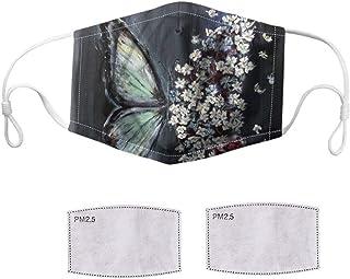 Kviklo 1 pz copertura in cotone & 2 filtri per uomo donna riutilizzabile e lavabile, bandana protettiva per il viso, prote...