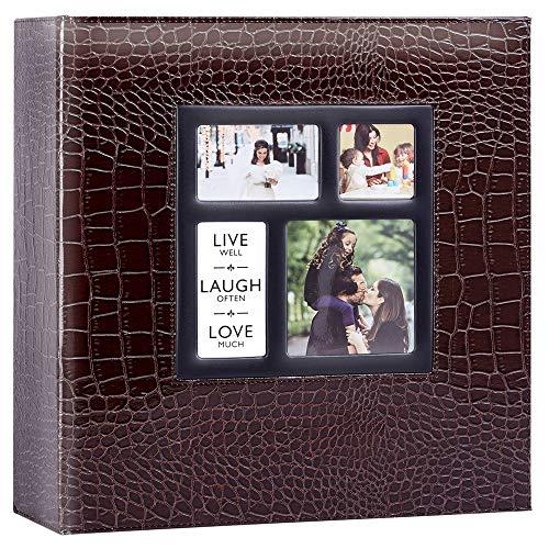 Ywlake Álbum de fotos de 10 x 15 cm con bolsillos de cocodrilo, gran albúmino, de piel para bodas familiares (1000 bolsillos, marrón)