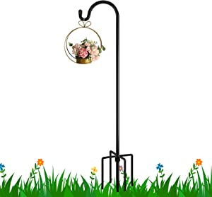 FEED GARDEN Shepherd Hook 48 Inch with 5 Prong Base, Adjustable Heavy Duty 1/2 Inch Thick Strong Pipe Garden Hanging Stake for Hanging Solar Light, Bird Feeder and Wedding Decoration,1 Pack