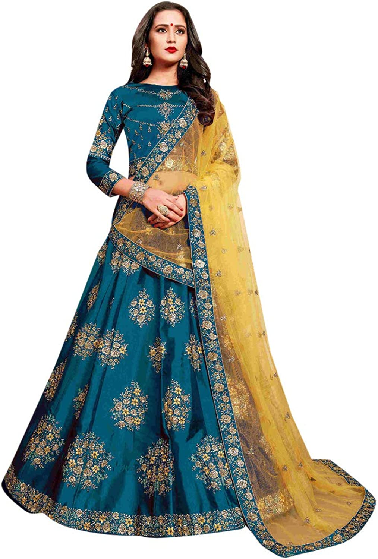 bluee Designer Bridal Wedding Cocktail Silk Lehenga Choli with Heavy Embroidery work Indian Women dress 7521