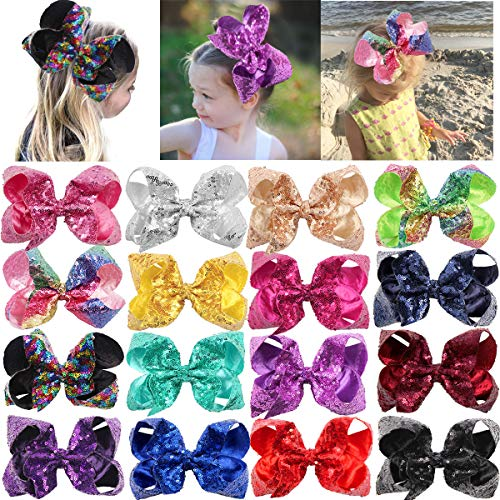 DeD 16 Pieces Large Big Sequin Hair Bows with Clips 8 Inch Sparly Rainbow Hair Bows Clips for Toddlers Teens Baby Girls