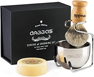 Shaving Brush Set, 4pcs Anbbas Pure Badger Hair Brush Solid Wood Handle with Goat Milk..