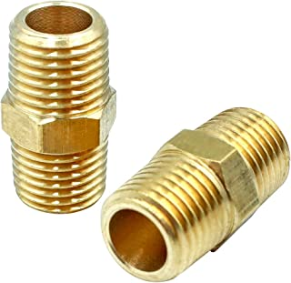 Tailonz Pneumatic Pipe Fitting and Air Hose Fitings Hex Nipple Coupling Set - 1/4-Inch NPT x 1/4-Inch NPT,Solid Brass Male Pipe- 10 PCS