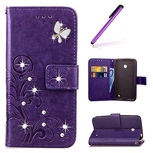 EMAXELERS Nokia Lumia 630 Hülle PU Lederhülle Handyhülle Flip Glitzer asche Brieftasche Bumper mit Kartenfächer Wallet Tasche Etui für Nokia Lumia 630/635,Diamond Purple Clover with Diamond