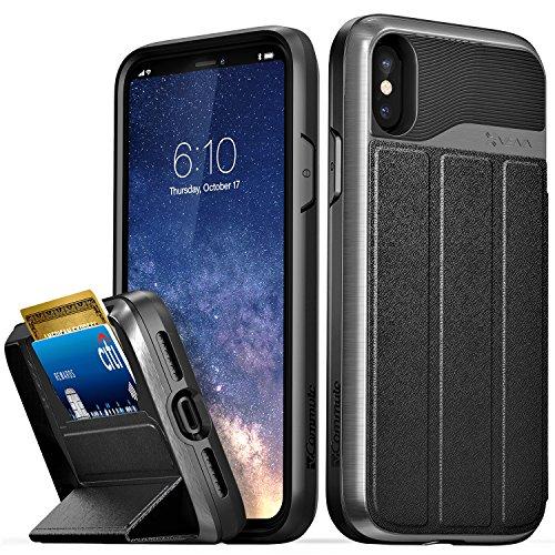 VENA iPhone X/XS Hülle, vCommute (Military Grade, Kartenfach) HandyHülle mit Standfunktion, Leder Flip Brieftasche Etui Schutzhülle für iPhone X/XS (5.8
