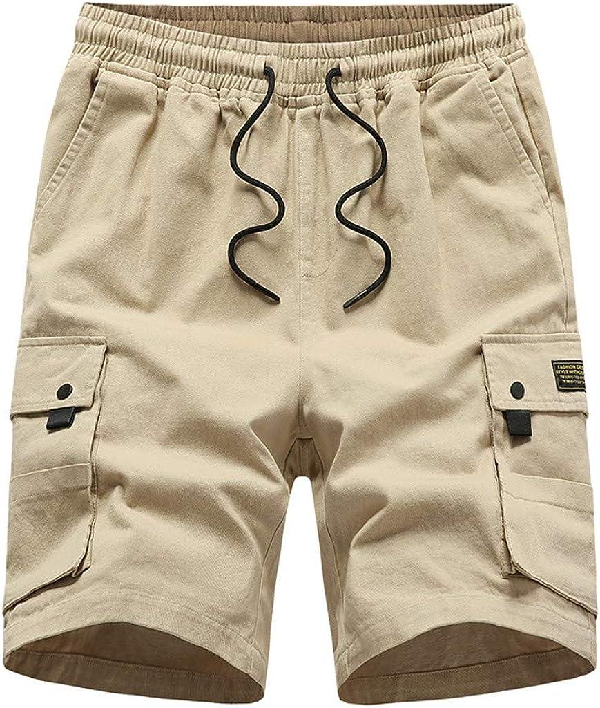 MODOQO Men's Shorts with Pockets Casual Solid Outdoor Summer Cargo Shorts Zipper Pants