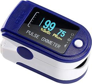 AFAC Oxímetro de pulso, oxímetro de dedo Medidor de saturación de oxígeno Mida el oxímetro de pulso azul para medir el pulso y el oxímetro en el dedo