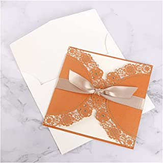 Greeting Card 100pcs Wedding Invitation Cards With Ribbon Greeting Cards Birthday Business Cards Decoration Party Favors S...