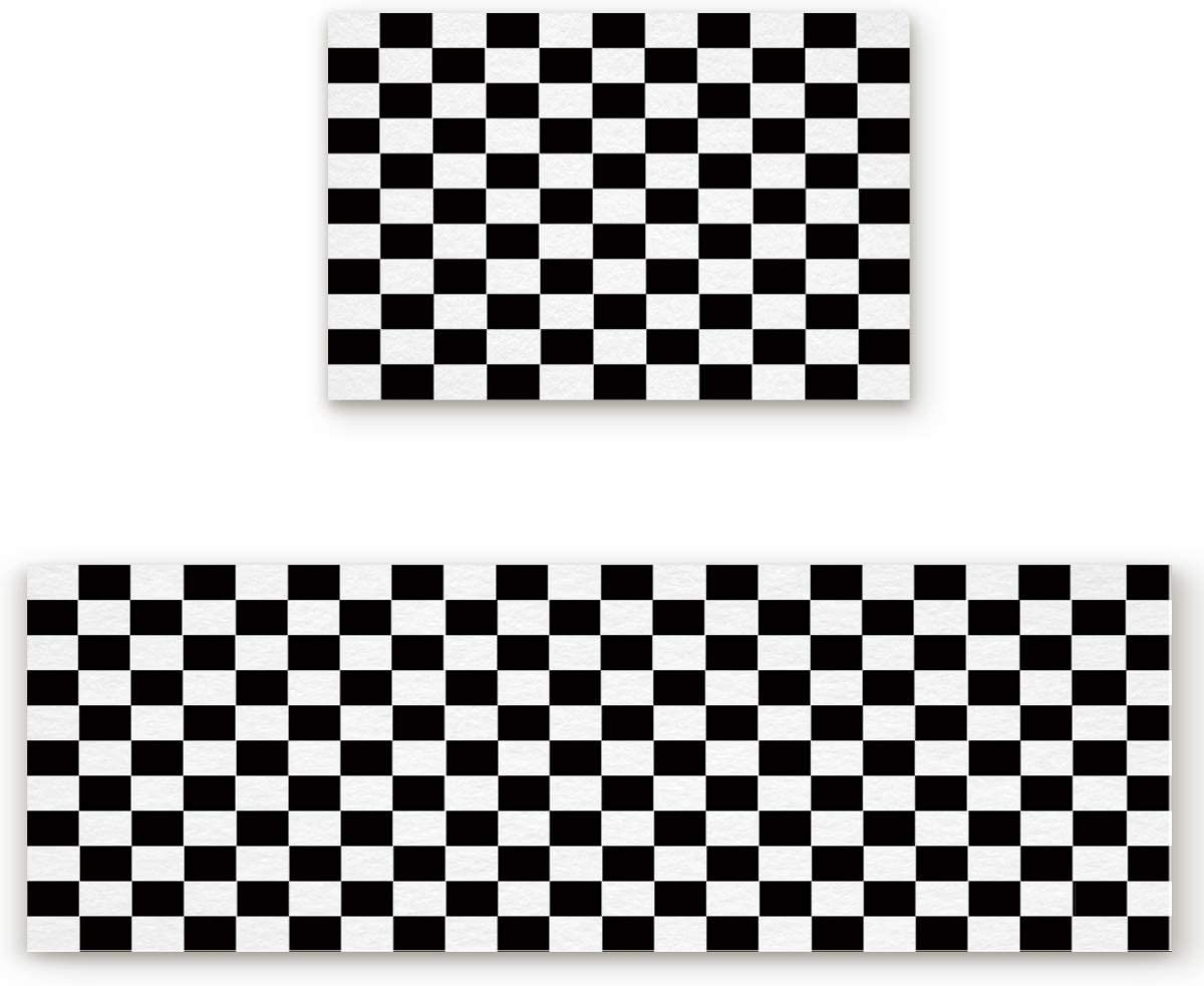 Rugs Set 2 Piece Kitchen Simple Geometric White 期間限定お試し価格 Black まとめ買い特価 and