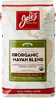 Jose's Whole Bean Coffee, 2lb 8 oz/40 oz 100% Certified USDA Organic Mayan Blend 100% Arabica Coffee
