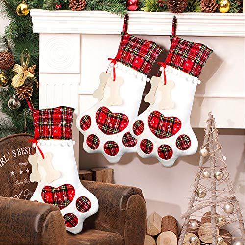 AerWo Pet Dog Christmas Stocking Hanging Christmas Stocking with Large Paw for Christmas Decorations, 18 x 11 Inches