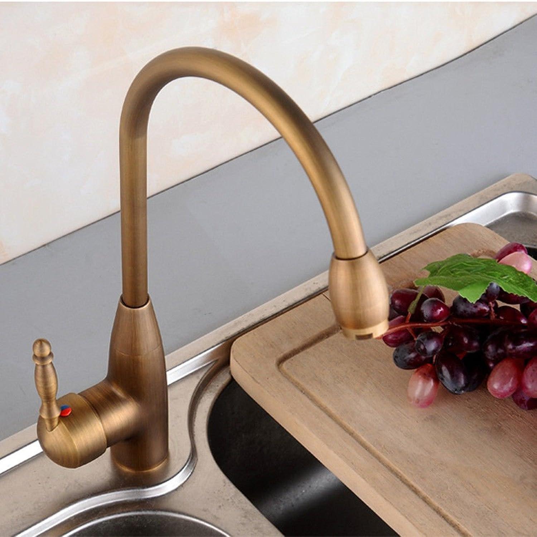 QIMEIM Spültischarmatur Wasserhahn Küche Messing antikes heies und kaltes Wasser Spültisch Armatur Küchenarmaturen Waschtischarmatur
