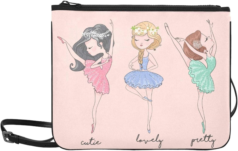 Bags For Girls Fashion Dancing Girl Beuty Colorful Dress Adjustable Shoulder Strap Zippered Crossbody Bag For Women Girls Ladies Shoulder Handbags Shoulder Bag Kids