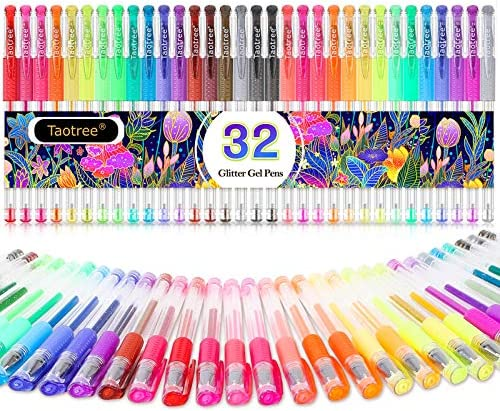 Glitter Gel Pens 32 Color Neon Glitter Pens Fine Tip Art Markers Set 40 More Ink Colored Gel product image