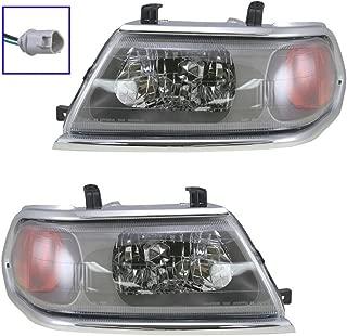 Headlights Headlamps w/Chrome Trim LH & RH Pair Set for 00-04 Montero Sport