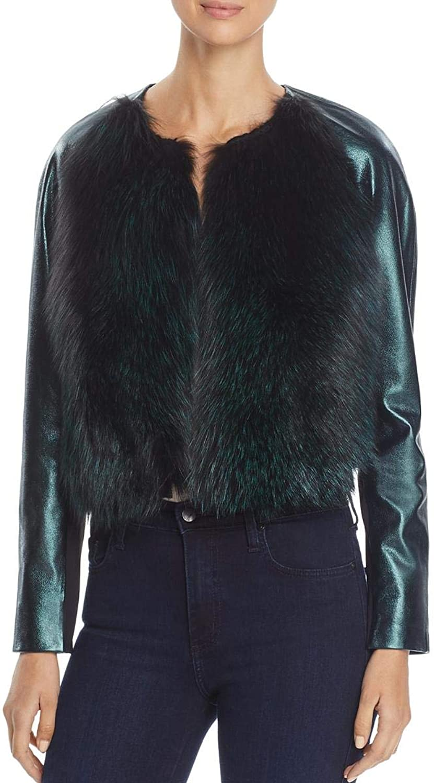 Elie Tahari Womens Maybelle Fall Metallic Leather Jacket